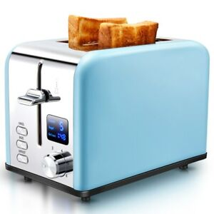 AEVO 2 Slice Toaster Extra Wide Slot Stainless Steel Digital Display US SHIPPING