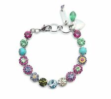MARIANA Cuba Swarovski Crystal Silver Bracelet Multi Color Flower Mosaic M333-1