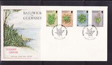 Guernesey  enveloppe  flore  fleurs  fougères     1975