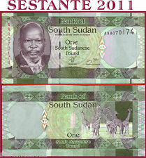 SOUTH SUDAN  -   1   POUND  2011  PREFIX AA  -   P  5   -   FDS / UNC