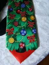 Tie Tales Neck Tie Christmas Tree Bulbs Bows Star Green Red Black New w/tag 60""