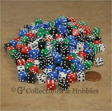 NEW 200 Mini 8mm Multicolor D6 Six Sided Game Dice Bulk 5/16 inch D6s - 5 Colors