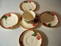 1 FRANCISCAN APPLE CUP AND 5 SAUCERS HAND PAINTED