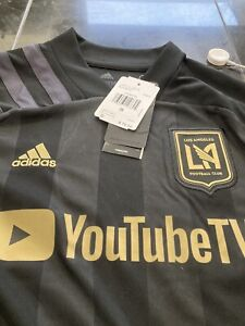 YOUTH Adidas AEROREADY LOS ANGELES LAFC MLS Soccer Jersey S SMALL BLACK OUT NWT