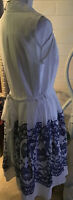 Ivanka Trump Fit And Flare  Dress Size 12 White & Blue Floral Sleeveless v Neck