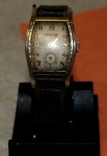 Vintage Bulova 15 Jewel 10k Rolled Gold Art Deco Men`s Stem Wind Wristwatch USA