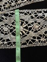 Antique wide Lace Coarse Flounce Costume Sewing Salvage Primitive Edging 63""