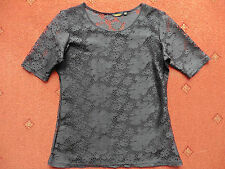 Women's Golddigga Black Short-sleeved lace effect Top, size 8