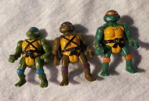Lot of 3 Vintage Mini Mutant Action Figures TMNT Ninja Turtles