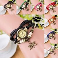 Fashion Antique Dragonfly Women Bracelet Hand Ring Wrist Watches Birthday Gifts