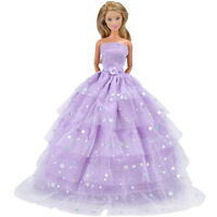 Handmade Dolls Clothes Purple Wedding Dress Party Gown Outfit for Barbie Dolls A