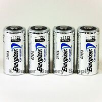 4 x CR123 Energizer 3V Lithium Batteries (CR123A, DL123, 123, EL123, CR17345)