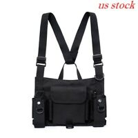 US Tactical Radio Chest Rig Chest Front Pack Combat Harness Pouch Holster Case