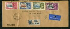 1935 Silver Jubilee Bahamas set used on Registered Air mail cover to USA