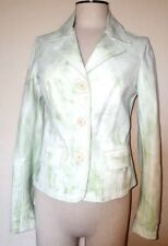 Vera Pelle White & Green Leather Blazer Jacket Size S