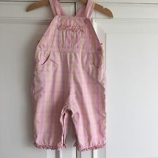 Mothercare 6-9 months Girl Dungarees, Pink Check, lined, Embroidered, Cotton