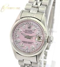 Rolex Lady Datejust Steel 26mm Pink MOP Diamond Dial Fluted Bezel Jubilee Band
