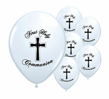 "10 x WHITE FIRST HOLY COMMUNION 12"" HELIUM  BALLOONS PARTY DECORATIONS  (PA)"