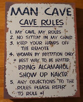 MAN CAVE RULES Rustic Primitive Style Wood Block Sign Lodge Cabin Home Decor NEW