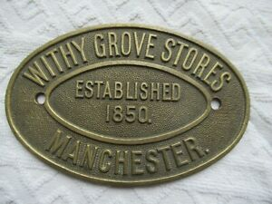 Brass Plaque, Withy Grove Stores, Manchester; safe makers