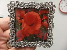 "Nice gift for Mothers Day pretty.filigree style 3"" frame with poppies photo.new"