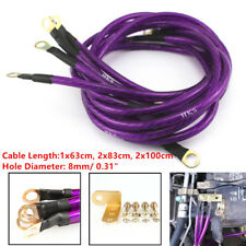 Universal Purple 5-Point Car High Performance Grounding Earth Cable Wire Kit Set