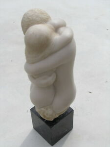 Vintage 1971 AMR Sculpture Embracing Nudes Sculpture Peggy Mach White Resin 14""