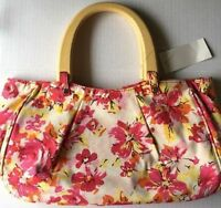 Old Navy Purse New Flowered Handbag Canvas White Pink Yellow Wood Handle Gift