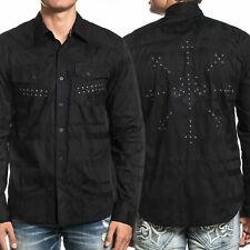 Affliction Undertake Eagle Metal Stud Men Long Sleeve Button Up Shirt Black M-XL