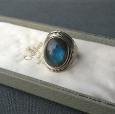 STERLING SILVER LABRADORITE RING SIZE O BLUE FLASH SOLID 925