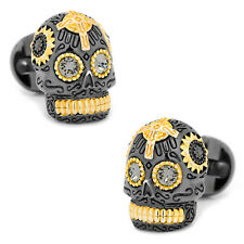 Ox and Bull Trading Co. Black and Gold Vermeil Day of the Dead Skull Cufflinks