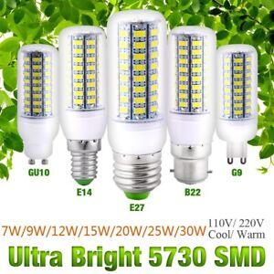 1/4Pack LED Corn Bulbs E27 B22 E14 G9 GU10 3W-30W 5730 SMD Cool White/Warm White