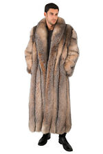 Long Crystal Fox Fur Coat for Men Full Length Genuine Fur Overcoat 55""
