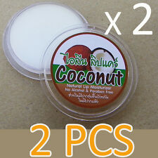 2x Coconut Lip Moisturizer Amazing Thai Coconut Natural Cosmetic Lip Balm Makeup