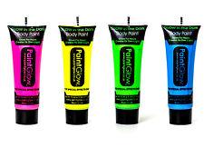 4er Set PaintGlow Neon leuchten im dunklen Gesicht & Körperfarbe Rabe Fest Party