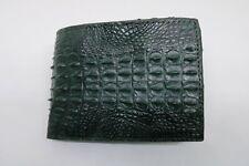 Double Sided Genuine Alligator Crocodile Skin Leather Men's Bifold Wallet Green