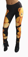 LADIES CUTE TEDDY BEARS TATTOO PRINT FUNKY LEGGINGS GOTH PUNK EMO SIZE 8 - 22