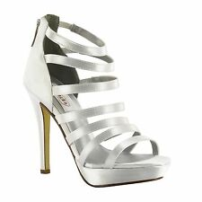 Dyeable White Silver Gold Strappy High Heel Prom Wedding Platform Sandal Shoe