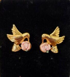 AVON Hummingbird Ceramic ROSE Goldtone Pierced Earrings w/ Surgical Steel Posts