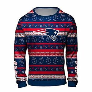 Forever Collectibles NFL Men's New England Patriots Hanukkah Ugly Crew Neck Swea