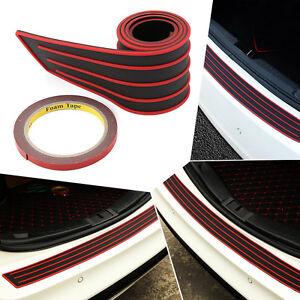 Black/Red Car Trunk Rear Bumper Protector Stickers Cover Scuff Plate 3''×35''