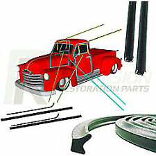 51-55 Chevy Truck Door Gaskets, Beltline Glass Run Channel Weatherstrip Seal Kit