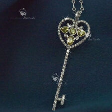 18k white gold gp made with SWAROVSKI crystal key pendant fashion long necklace
