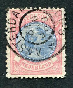 Nederland nvph 47, 2,50 GLD Hangend Haar, gebruikt; grootrond AMSTERDAM