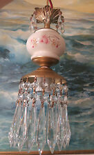 1o3 Vintage Rose Pink porcelain English Tea Time hanging lamp kitchen Brass tole