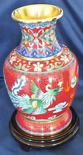 """Chinese Cloisonne Dragon & Phoenix Vase & Stand 9"""" Signed"""