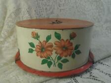 Vntg~Antq Hand-Painted Metal DecoWare Tin Domed Cake Carrier Saver w/Top Handle