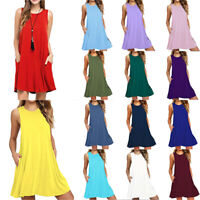 Women Pocket Loose Vest Swing Dress Sleeveless Casual Summer Skirt Plus Size