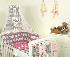 ELEPHANT+ BLUE+PINK+YELLOW Baby Bedding Set fit Cot 120x60 or Cot Bed140x70CM