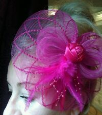Fascinator Pink Headband Wedding Party Hat Facinator pink feather .